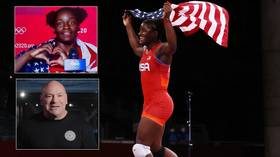 Patriotic Olympic wrestling champ who proclaimed 'I freaking love living in the USA!' is hailed by UFC boss Dana White (VIDEO)