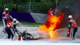 MotoGP star Lorenzo Savadori stretchered from track after horrific fireball crash at Styria Grand Prix (VIDEO)