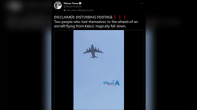 Afghans reportedly plunge to their deaths after trying to cling to US military plane taking off from Kabul (UNVERIFIED VIDEO)