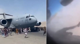 Shocking video appears to show body dangling from US plane out of Kabul, 'human remains' later found in landing gear