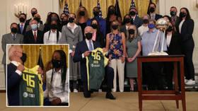 US president Biden kneels in White House photos again with basketball team – but Black Votes Matter boss still isn't happy (VIDEO)