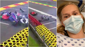 'I had an angel on my shoulder': Racing ace escapes unharmed following brain scan after 6 female drivers suffer huge crash (VIDEO)
