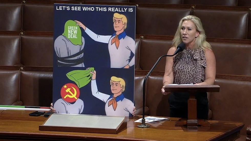 Image 'This a parody account, right?' Marjorie Taylor Greene ridiculed for bringing Scooby-Doo meme to US Congress