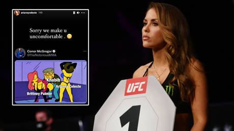 Arianny Celeste has posted about the UFC ring girl row over Khabib Nurmagomedov's comments, and Brittney Palmer (right) has echoed her views © Instagram / ariannyceleste | © Jasen Vinlove / USA Today Sports via Reuters