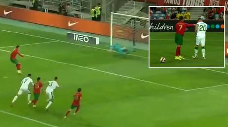 Cristiano Ronaldo was accused of aiming a punch at an Irish player before missing a penalty. © Twitter
