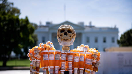 Pill Man, a skeleton made from oxycontin and methadone bottles, is seen in front of the White House in Washington, DC, August 30, 2019