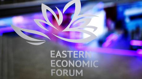 The logo of the Eastern Economic Forum in the main building of the Far Eastern Federal University, Vladivostok, Russia, September 1, 2021