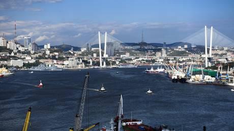 Golden Bridge over the Golden Horn Bay in Vladivostok, Russia, August 30, 2021