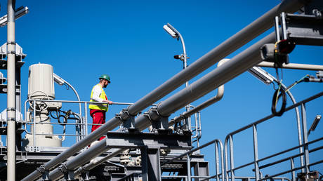 Onshore facilities at the Nord Stream 2 gas distribution center in Lubmin, Germany, March 31, 2021.