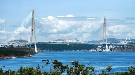 Cable-stayed bridge to Russian Island in Vladivostok. © Sputnik / Alexey Danichev
