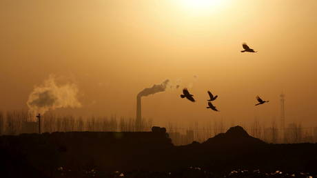 Birds fly over a closed steel factory where chimneys of another working factory are seen in the background, in Tangshan, Hebei province, China, (FILE PHOTO) © REUTERS/Kim Kyung-Hoon/