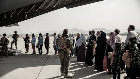 Evacuations at Hamid Karzai International Airport in Kabul, Afghanistan, August 30, 2021.