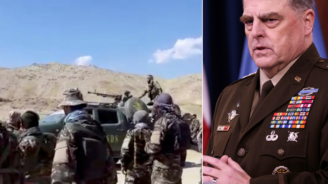 (L) Members of the anti-Taliban National Resistance Front (R) US Joint Chiefs Chairman General Mark Milley