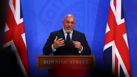 COVID-19 Vaccine Deployment Minister Nadhim Zahawi speaks during a media briefing on the coronavirus pandemic, at Downing Street in London, Britain, June 23, 2021.