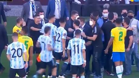 Confusion reigned in the Brazil vs Argentina World Cup qualifying match. © Twitter