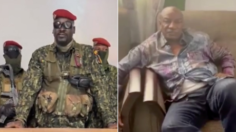 (L) Guinean Colonel Doumbouya delivering a speech following the capture of (R) President Alpha Conde
