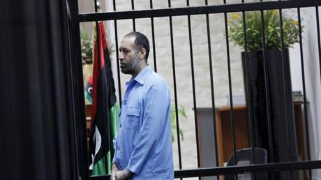 FILE PHOTO: Saadi Gaddafi during a hearing at a courtroom in Tripoli, Libya, December 6, 2015.