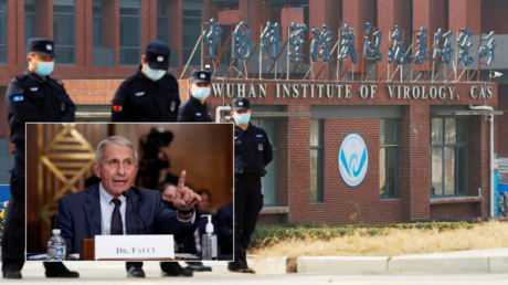 FILE PHOTOS: Security personnel keep watch outside Wuhan Institute of Virology, in Hubei province, China, February 3, 2021; (Inset) Anthony Fauci speaks at a Senate hearing in Washington, DC, July 20, 2021.