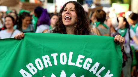 FILE PHOTO. Activists supporting the decriminalization of abortion march in Guadalajara, Mexico.