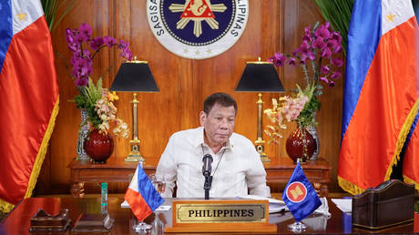 Philippine President Rodrugo Duterte attending the Association of Southeast Asian Nations (ASEAN) Summit, June 26, 2020. King © RODRIGUES / Presidential Photographers Division / AFP