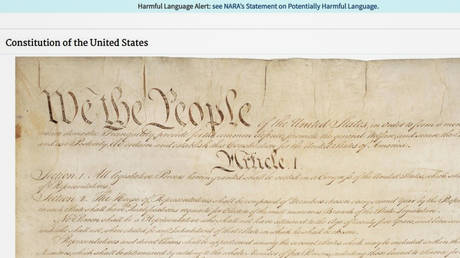 """The US Constitution (1787) has been flagged for """"harmful language"""" by the National Archives © archives.org/screenshot"""