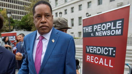 File photo: Republican gubernatorial recall candidate Larry Elder campaigns in Los Angeles, California, September 2, 2021.