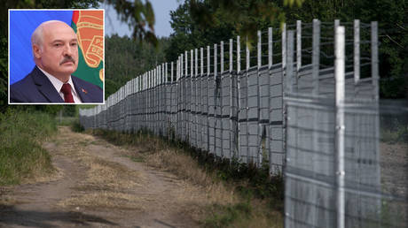 A general view of the Lithuania-Belarus border line on June 21, 2021 in Poskonys, Lithuania. © Paulius Peleckis/Getty Images; (inset) Alexander Lukashenko © Sputnik / BelTA