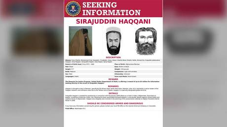 The 'Seeking Information' poster issued by the US Federal Bureau of Investigation for Sirajuddin Haqqani, who is Afghanistan's newly appointed acting interior minister (FILE PHOTO) © FBI/Handout via REUTERS