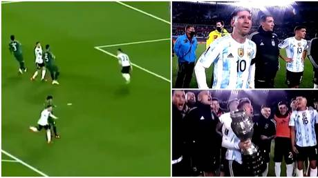 Lionel Messi was tearful after breaking Pele's record and lifting the Copa America. © Twitter