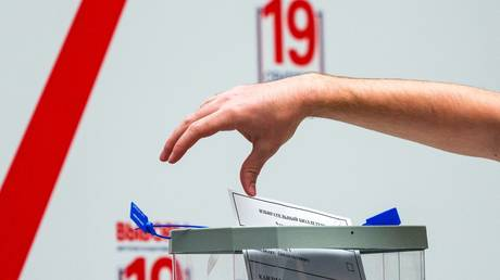 Open test voting in the CEC of Russia as part of the remote electronic voting (DEG) training before being used in the elections on September 19, 2021. © Sputnik / Alexander Wilf