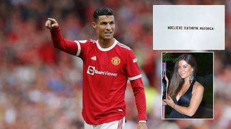 A protest banner was unveiled against Ronaldo at Old Trafford on Saturday. © Reuters / Getty Images / Twitter @levelup_uk