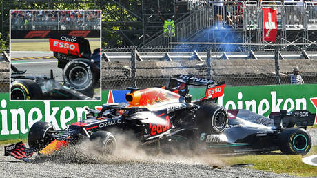 Lewis Hamilton and Max Verstappen have collided again – this time at the Italian Grand Prix © Jennifer Lorenzini / Reuters