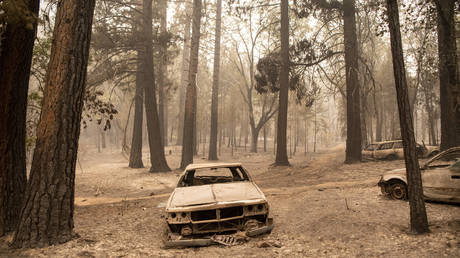 Burned vehicles rest in a charred neighborhood during the Dixie fire in the Indian Falls neighborhood of unincorporated Plumas County, California on July 26, 2021 © AFP / Josh Edelson.
