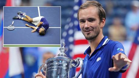Medvedev celebrated his US Open title in unusual style. © USA Today Sports