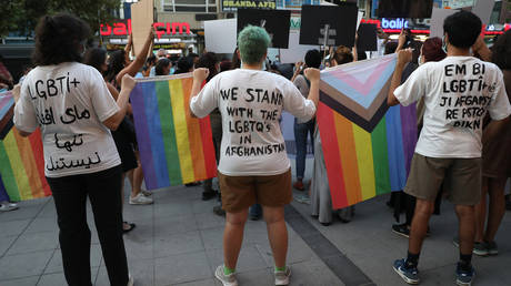 FILE PHOTO: Members of the Turkish LGBT+ community hold a solidarity protest in Ankara on August 25, 2021