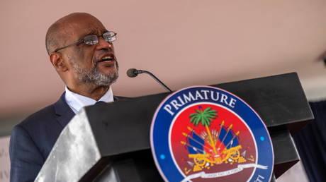 Designated Prime Minister Ariel Henry speaks at La Primature in Port-au-Prince, Haiti on July 20, 2021.