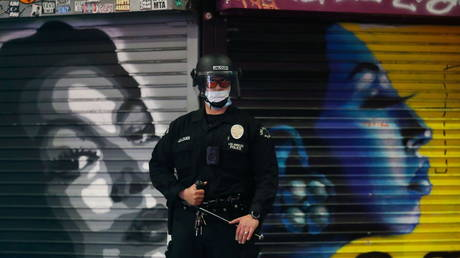 FILE PHOTO: An LAPD officer is seen in Los Angeles, California.
