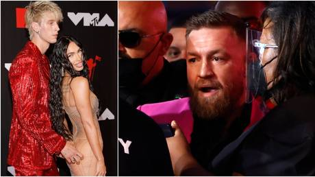 Machine Gun Kelly (pictured with girlfriend Megan Fox) clashed with Conor McGregor at the MTV awards. © Reuters / Getty Images