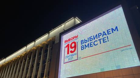 A billboard in Krasnodar calls on residents to vote in elections being held this week