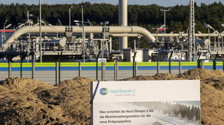 The Nord Stream 2 gas line landfall facility in Lubmin, north eastern Germany, on September 7, 2020