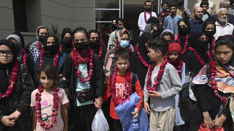 Members of the Afghanistan youth football team arrived in Pakistan today. © AFP