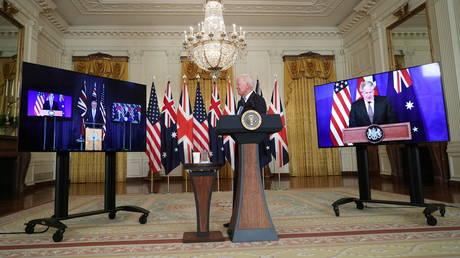US President Joe Biden delivers remarks on a National Security Initiative virtually with Australian Prime Minister Scott Morrison and British Prime Minister Boris Johnson, September 15, 2021