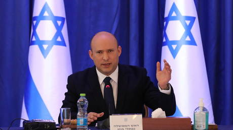 Israeli Prime Minister Naftali Bennett attends a cabinet meeting at the Ministry of foreign affairs offices in Jerusalem.
