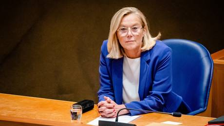 Outgoing Minister Sigrid Kaag of Foreign Affairs looks on as she resigns at the House of Representatives in the Hague, on September 16, 2021.