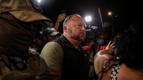 Alex Jones at protest about results of 2020 presidential election at Maricopa County Tabulation and Election Center in Phoenix, Arizona