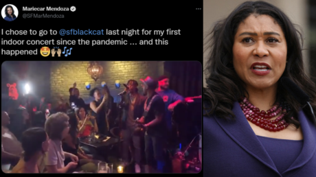 San Francisco Mayor London Breed (R) can be seen partying maskless in videos and photos shot by others in the club (L).