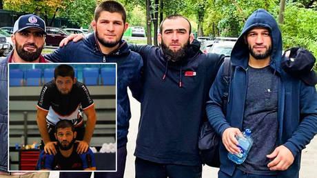 Shamil Zavurov (inset, below) has spoken about his relationship with Khabib Nurmagomedov (inset, above) © Instagram / khabib_nurmagomedov