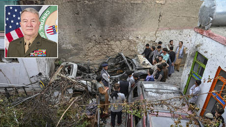 Afghan residents and family members of the victims gather next to a damaged vehicle inside a house, day after a US drone airstrike in Kabul on August 30, 2021. © WAKIL KOHSAR / AFP; (inset) General Kenneth F. McKenzie © Wikipedia