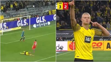 Erling Haaland scored a wonder goal for Borussia Dortmund on Sunday. © Twitter @Bundesliga_EN