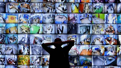 An information board showing live broadcast from polling stations during the 2021 Russian parliamentary election at the Russian Central Election Commission headquarters, in Moscow, Russia
